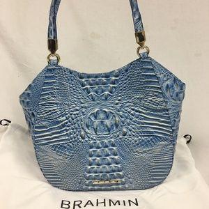 Brahmin Marianna Cerulean Embossed Leather Tote